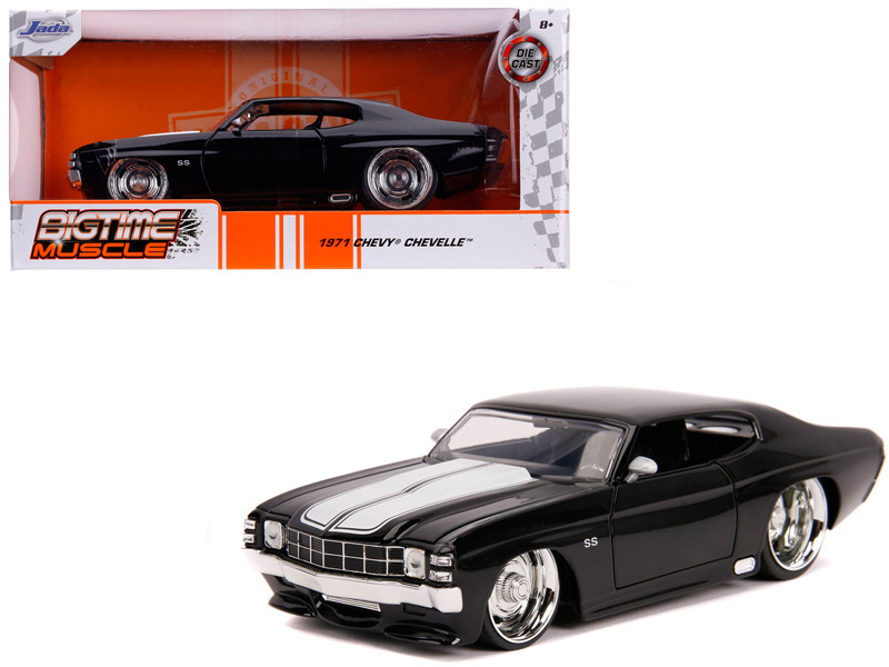1971 Chevrolet Chevelle SS Glossy Black White Stripes Bigtime Muscle 1/24 Diecast Model Car Jada 31653