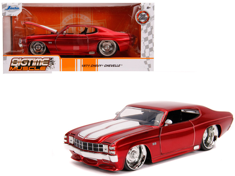 1971 Chevrolet Chevelle SS Glossy Red White Stripes Bigtime Muscle 1/24 Diecast Model Car Jada 31654