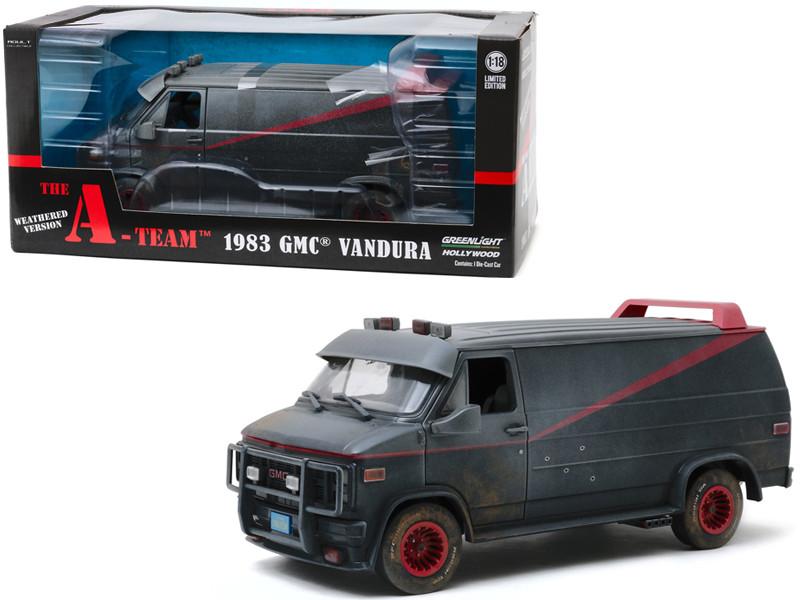 1983 GMC Vandura Black Weathered Version Bullet Holes The A-Team 1983 1987 TV Series 1/18 Diecast Model Car Greenlight 13567