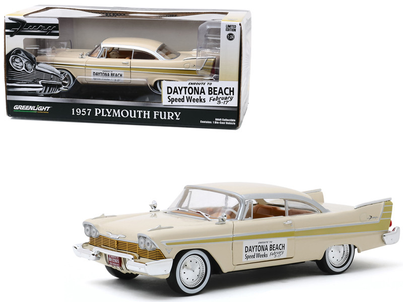 1957 Plymouth Fury Cream Gold Stripes Daytona Beach Speed Weeks February 3-17 1957 1/24 Diecast Model Car Greenlight 18257
