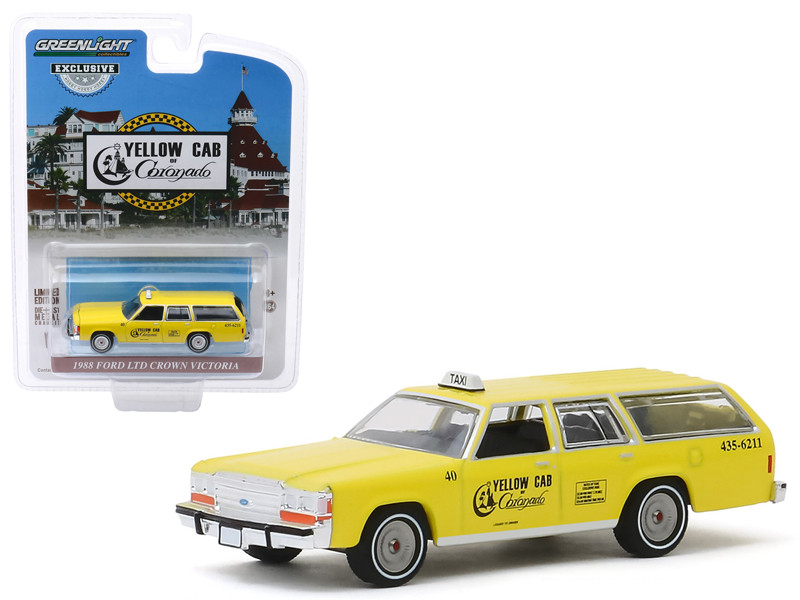 1988 Ford LTD Crown Victoria Wagon Taxicab Yellow Cab of Coronado California Hobby Exclusive 1/64 Diecast Model Car Greenlight 30122