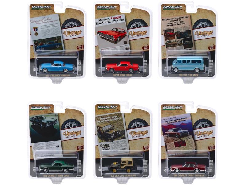 Vintage Ad Cars Series 2 6 piece Set 1/64 Diecast Model Cars Greenlight 39030