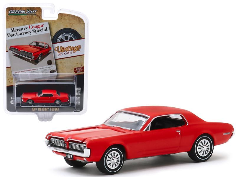 1967 Mercury Cougar Red Mercury Cougar Dan Gurney Special Vintage Ad Cars Series 2 1/64 Diecast Model Car Greenlight 39030 B