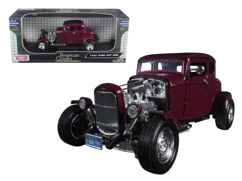 1932 Ford Coupe Burgundy Timeless Classics 1/18 Diecast Model Car Motormax 73172