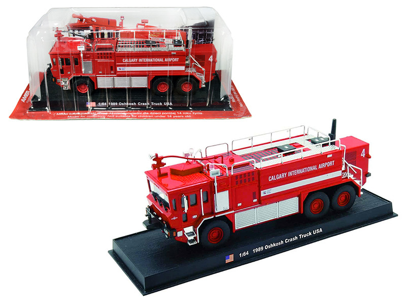 1989 Oshkosh Crash Fire Engine Calgary International Airport Calgary Alberta Canada 1/64 Diecast Model Amercom ACGB03