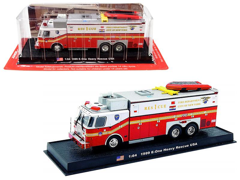 1999 E-One Heavy Rescue Fire Engine Fire Department City of New York FDNY 1/64 Diecast Model Amercom ACGB04