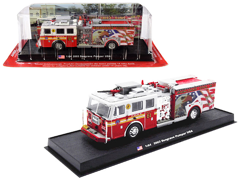 2003 Seagrave Pumper Fire Engine Never Forget Fire Department City of New York FDNY 1/64 Diecast Model Amercom ACGB06