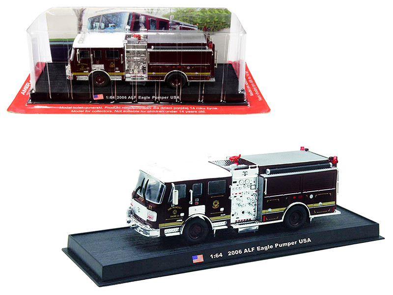 2006 American LaFrance ALF Eagle Pumper Fire Engine San Francisco California 1/64 Diecast Model Amercom ACGB07