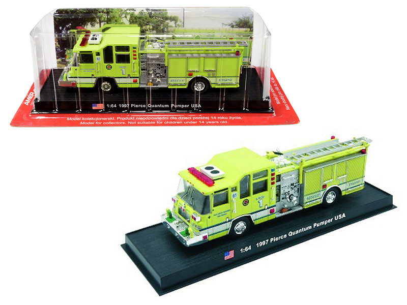 1997 Pierce Quantum Pumper Fire Rescue Engine Palm Beach Gardens California 1/64 Diecast Model Amercom ACGB08
