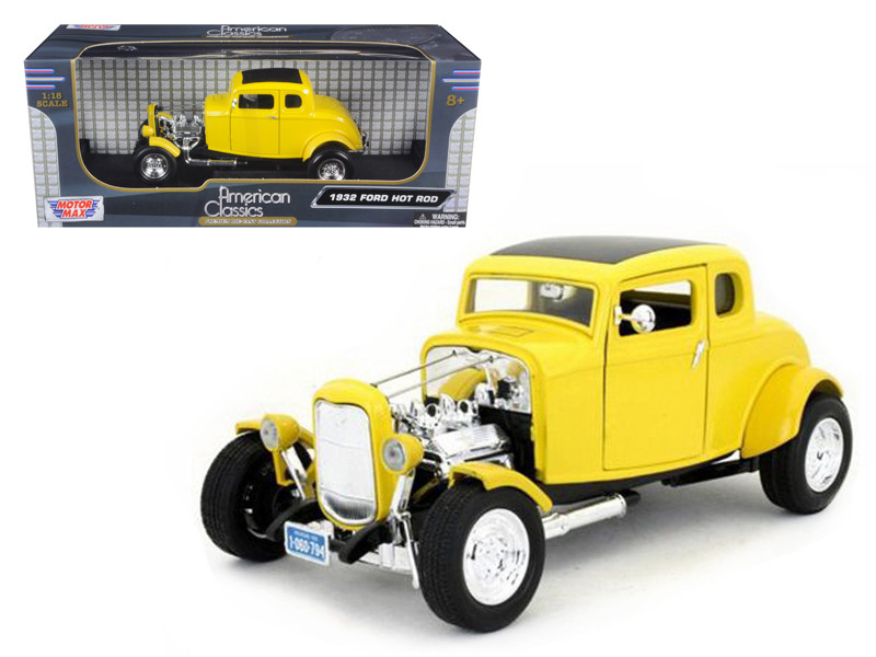 1932 Ford Coupe Hot Rod Yellow 1/18 Diecast Car Model Motormax 73172