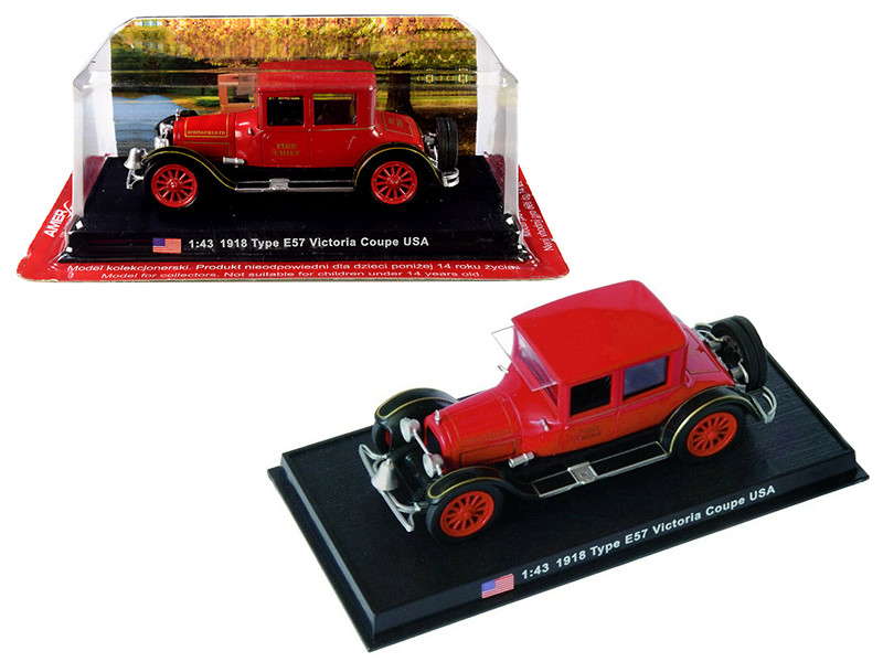 1918 Cadillac Type E57 Victoria Coupe Fire Chief 1/43 Diecast Model Car Amercom ACSF50