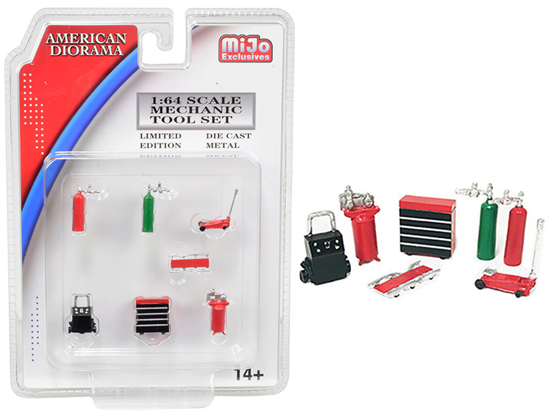 Mechanic Tool Set of 7 pieces Red for 1/64 Scale Models American Diorama 38404