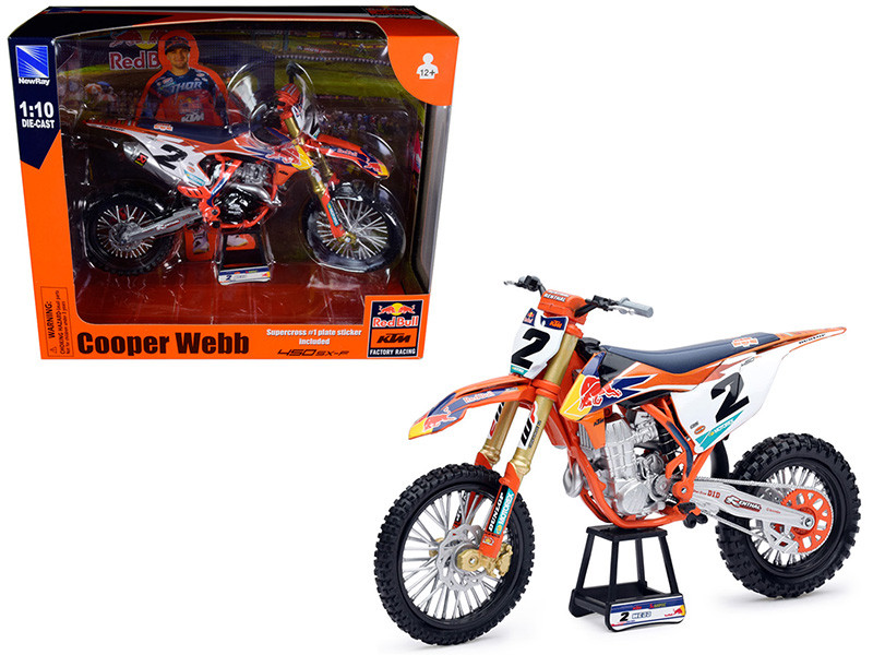 KTM 450 SX-F #2 Cooper Webb with Supercross #1 Plate Stickers Red Bull KTM Factory Racing 1/10 Diecast Motorcycle Model New Ray 58213