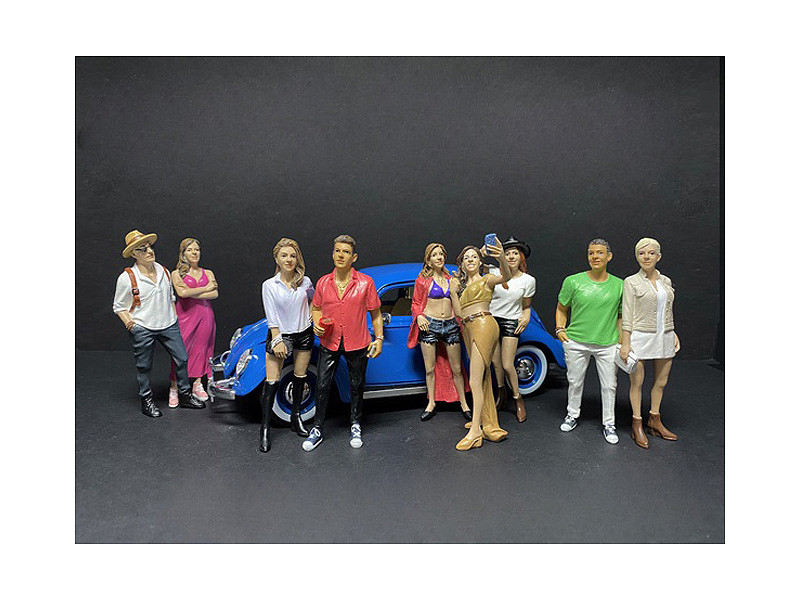 Partygoers 9 piece Figurine Set for 1/18 Scale Models American Diorama 38221 38222 38223 38224 38225 38226 38227 38228 38229