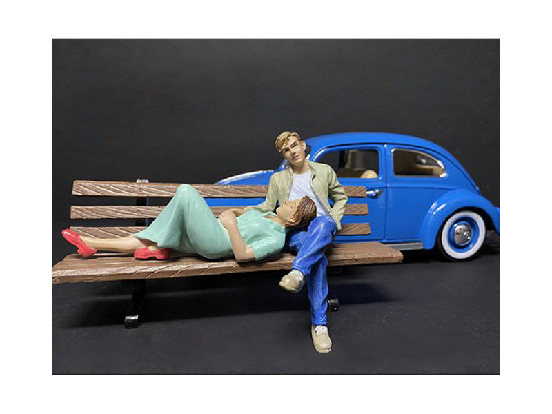 Sitting Lovers 2 piece Figurine Set for 1/18 Scale Models American Diorama 38230 38231