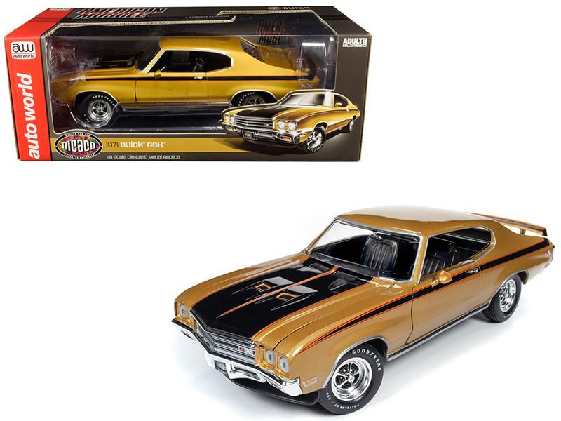 1971 Buick GSX Hardtop Cortez Gold Metallic Black Stripes Muscle Car & Corvette Nationals MCACN 1/18 Diecast Model Car Autoworld AMM1198