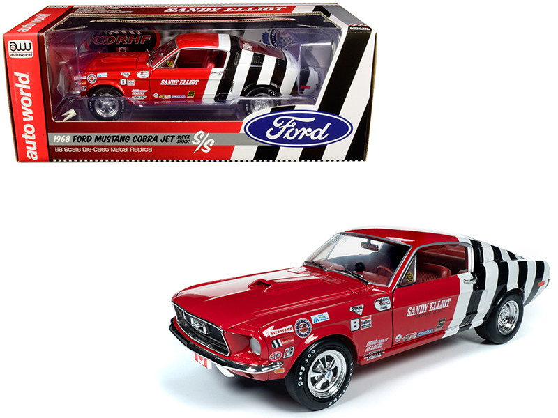 1968 Ford Mustang Cobra Jet Super Stock Sandy Elliot Performance Centre 1/18 Diecast Model Car Autoworld AW259