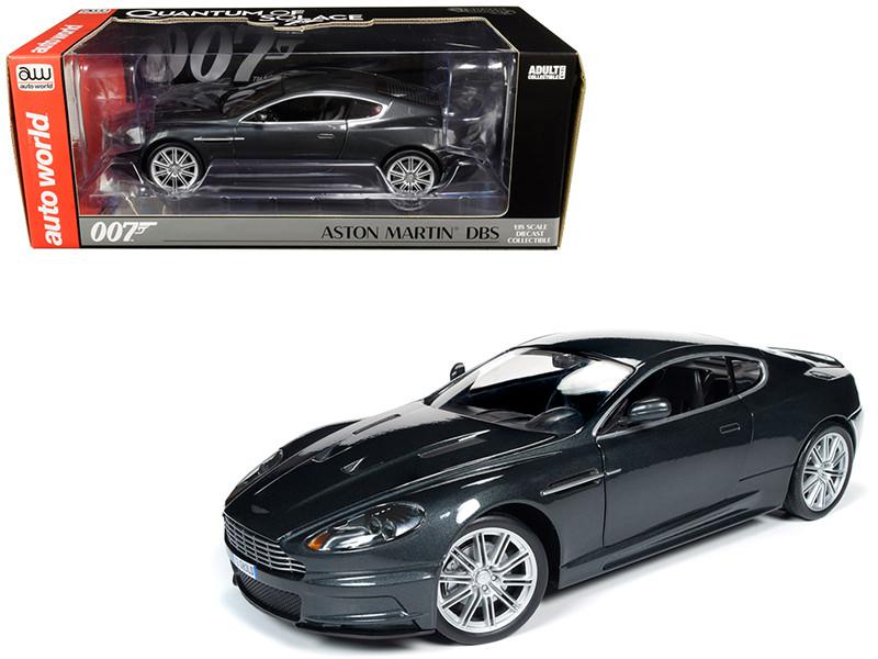 Aston Martin DBS Quantum Silver Dark Gray Metallic James Bond 007 Quantum of Solace 2008 Movie 1/18 Diecast Model Car Autoworld AWSS123
