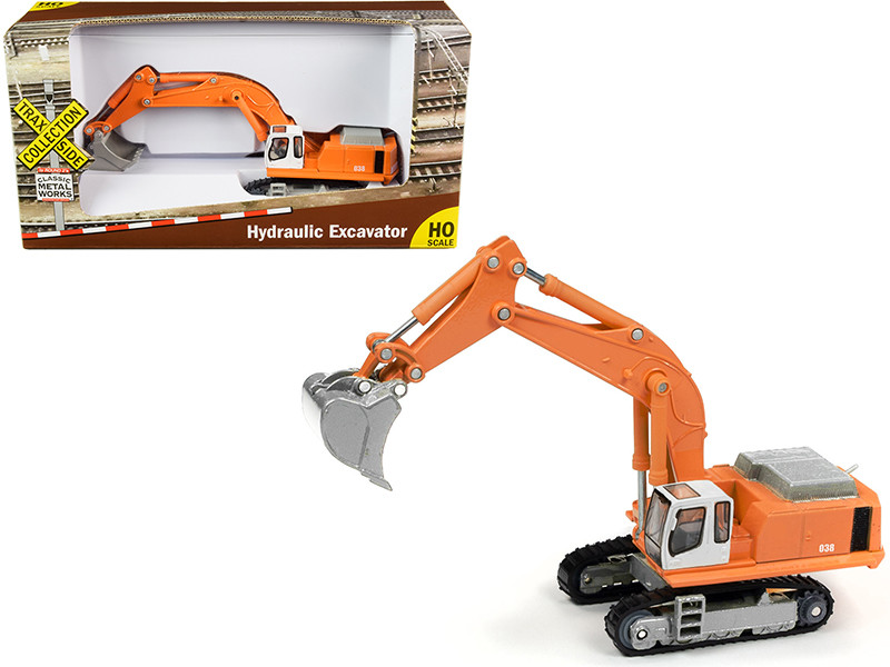 Hydraulic Excavator Orange TraxSide Collection 1/87 HO Scale Diecast Model Classic Metal Works TC100 A