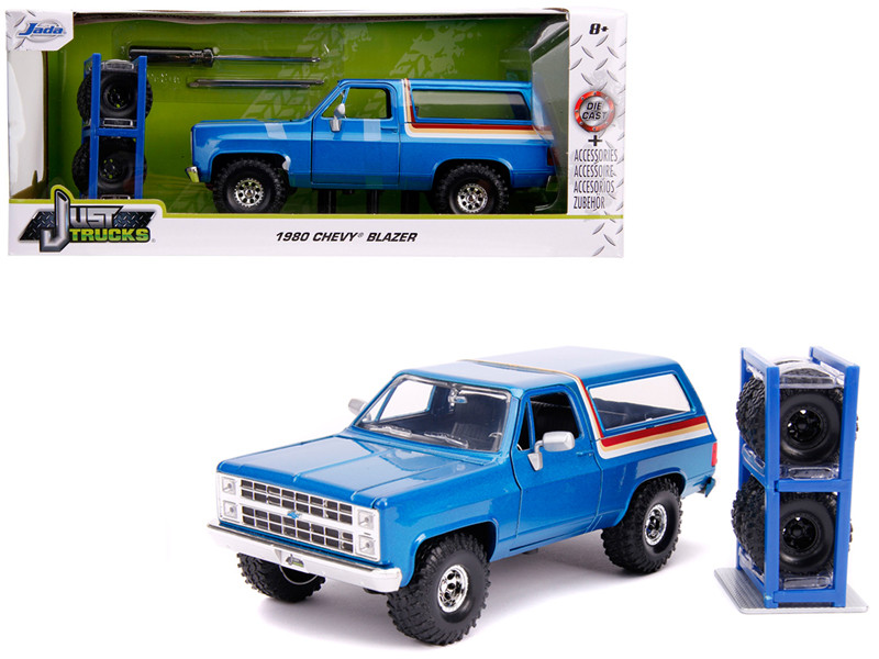 1980 Chevrolet Blazer Blue Metallic Stripes Extra Wheels Just Trucks Series 1/24 Diecast Model Car Jada 31396