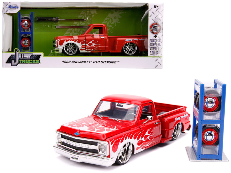 1969 Chevrolet C10 Stepside Pickup Truck Red White Flames Extra Wheels Just Trucks Series 1/24 Diecast Model Car Jada 31397