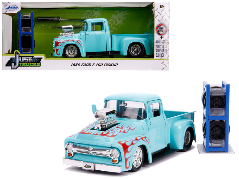 1956 Ford F-100 Pickup Truck Turquoise Red Flames Extra Wheels Just Trucks Series 1/24 Diecast Model Car Jada 31542