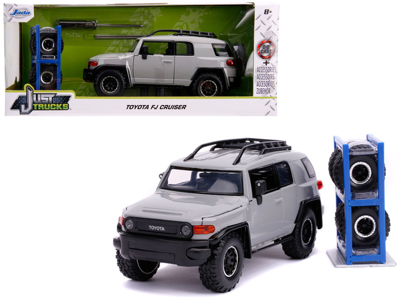 Toyota FJ Cruiser Roof Rack Gray Extra Wheels Just Trucks Series 1/24 Diecast Model Car Jada 31557