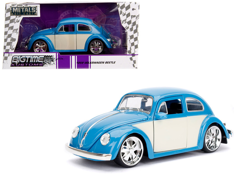 1959 Volkswagen Beetle Light Blue Cream Bigtime Kustoms 1/24 Diecast Model Car Jada 99018