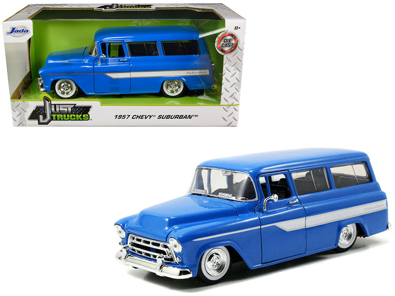 1957 Chevrolet Suburban Blue White Stripes Just Trucks 1/24 Diecast Model Car Jada 97190