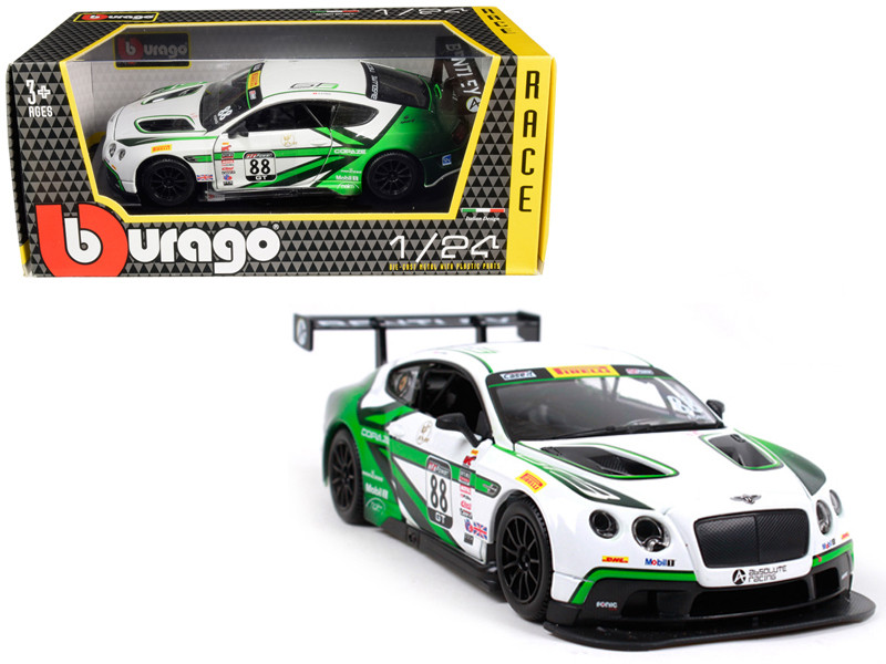 Bentley Continental GT3 #88 White Green 1/24 Diecast Model Car Bburago 28008