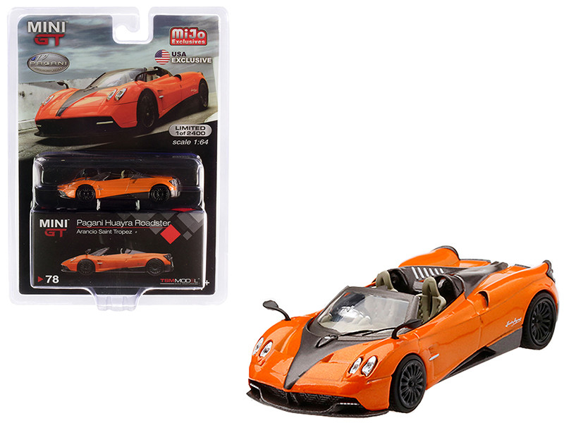 Pagani Huayra Roadster Arancio Saint Tropez Orange Metallic Limited Edition 2400 pieces Worldwide 1/64 Diecast Model Car True Scale Miniatures MGT00078