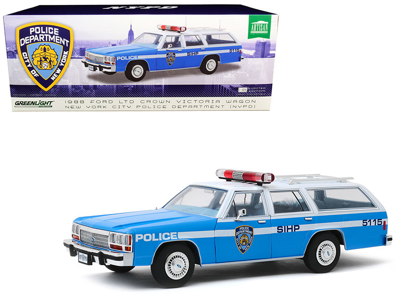 1988 Ford LTD Crown Victoria Wagon NYPD New York City Police Department Light Blue White 1/18 Diecast Model Car Greenlight 19062
