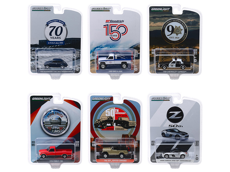 Anniversary Collection Series 10 6 piece Set 1/64 Diecast Model Cars Greenlight 28020