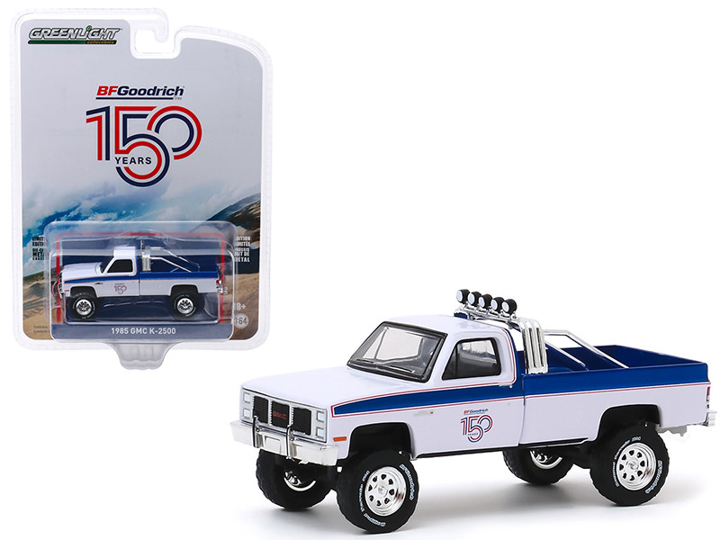 1985 GMC K-2500 Pickup Truck White Blue Stripes BFGoodrich 150th Anniversary Anniversary Collection Series 10 1/64 Diecast Model Car Greenlight 28020 B