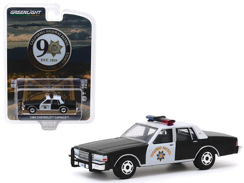 1989 Chevrolet Caprice Police Car Black White CHP California Highway Patrol 90th Anniversary Anniversary Collection Series 10 1/64 Diecast Model Car Greenlight 28020 C