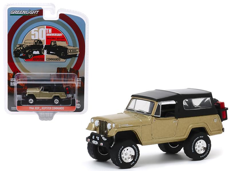 1966 Jeep Jeepster Commando Gold Metallic Black Top Moab Utah April 2017 50th Anniversary Anniversary Collection Series 10 1/64 Diecast Model Car Greenlight 28020 E