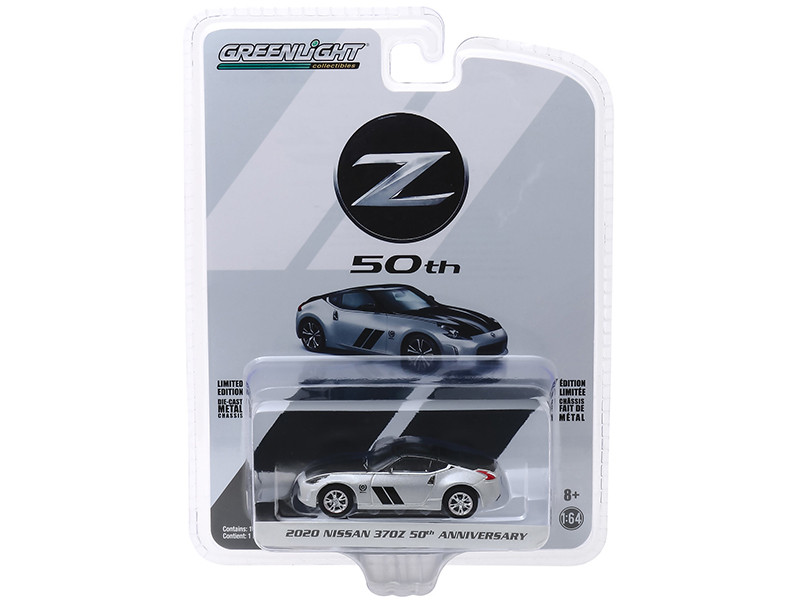 2020 Nissan 370Z Coupe Silver Black 50th Anniversary Anniversary Collection Series 10 1/64 Diecast Model Car Greenlight 28020 F