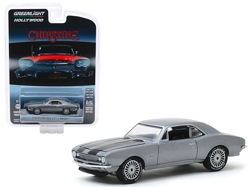 1967 Chevrolet Camaro Gray Metallic Black Stripes Buddy Repperton's Christine 1983 Movie Hollywood Series Release 27 1/64 Diecast Model Car Greenlight 44870 C