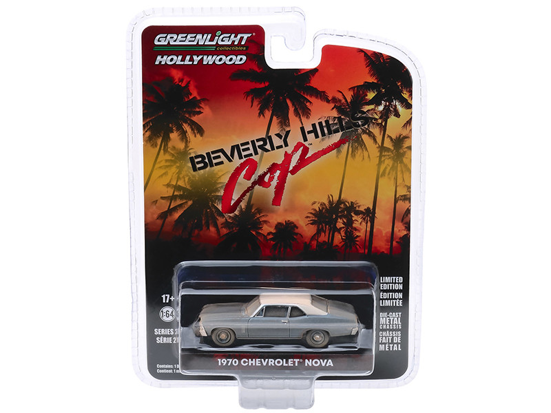 1970 Chevrolet Nova Blue Metallic White Top Unrestored Beverly Hills Cop 1984 Movie Hollywood Series Release 27 1/64 Diecast Model Car Greenlight 44870 D