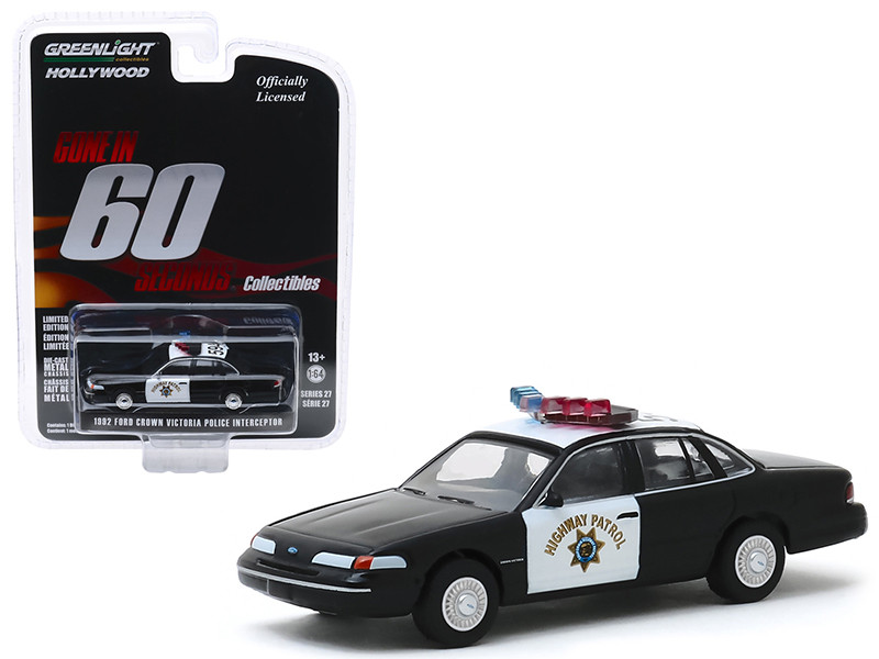 1992 Ford Crown Victoria Police Interceptor CHP California Highway Patrol Gone in 60 Seconds 2000 Movie Hollywood Series Release 27 1/64 Diecast Model Car Greenlight 44870 E