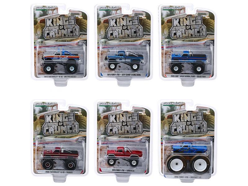 Kings of Crunch Series 6 Set of 6 Monster Trucks 1/64 Diecast Model Cars Greenlight 49060