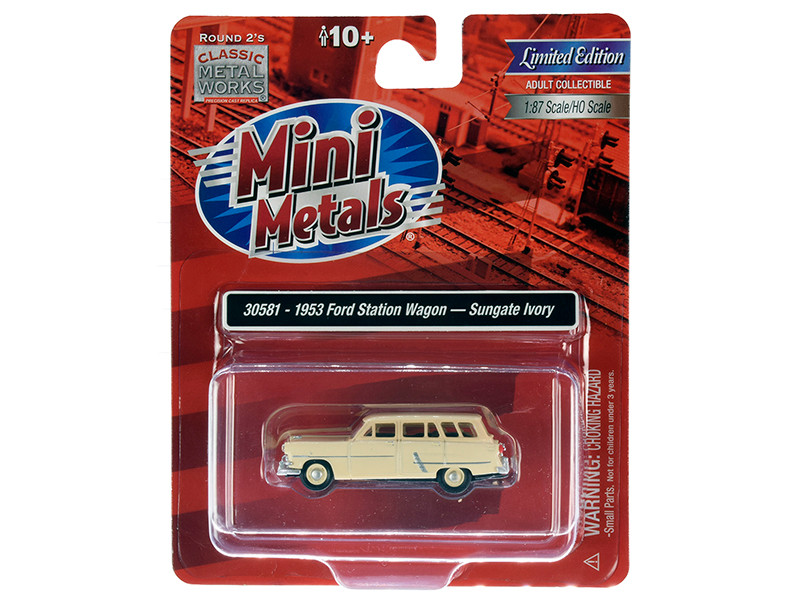 1953 Ford Station Wagon Sungate Ivory 1/87 HO Scale Model Car Classic Metal Works 30581
