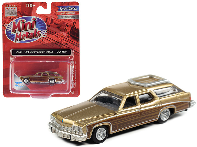 1974 Buick Estate Wagon Gold Mist Metallic Woodgrain Sides 1/87 HO Scale Model Car Classic Metal Works 30586