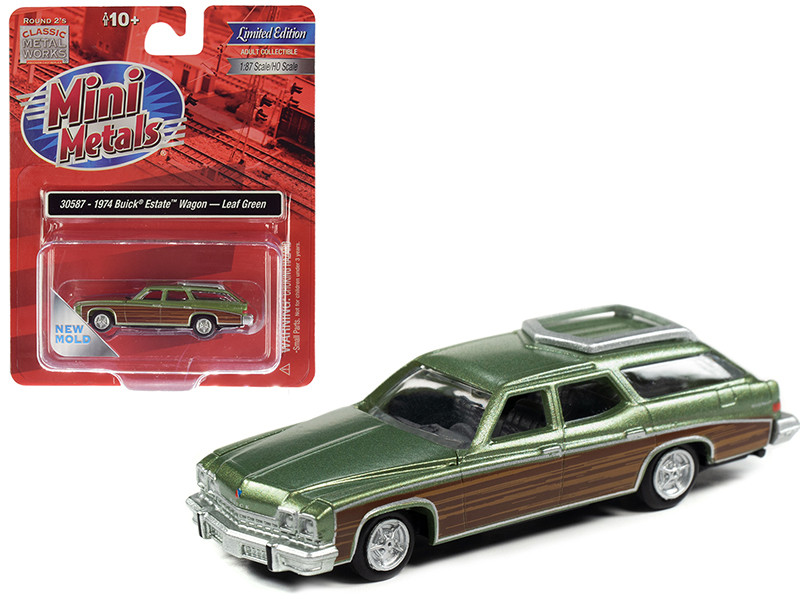 1974 Buick Estate Wagon Leaf Green Metallic Woodgrain Sides 1/87 HO Scale Model Car Classic Metal Works 30587