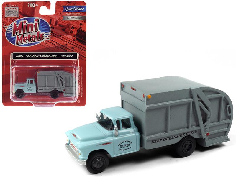 1957 Chevrolet Garbage Truck Oceanside Department of Public Works Light Blue Gray 1/87 HO Scale Model Classic Metal Works 30590