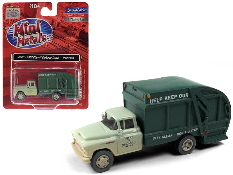 1957 Chevrolet Garbage Truck Ironwood Sanitation Light Green Dark Green Dirty Weathered 1/87 HO Scale Model Classic Metal Works 30591
