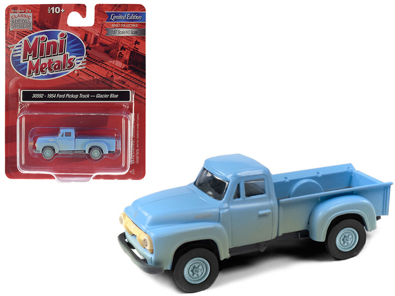 1954 Ford Pickup Truck Glacier Blue Dirty Weathered 1/87 HO Scale Model Car Classic Metal Works 30592