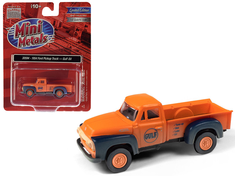 1954 Ford Pickup Truck Gulf Oil Orange Dirty Weathered 1/87 HO Scale Model Car Classic Metal Works 30594
