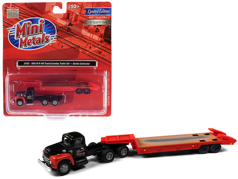 1954 IH R-190 Tractor Truck Lowboy Trailer Bonito Contractor Black Red 1/87 HO Scale Model Classic Metal Works 31193