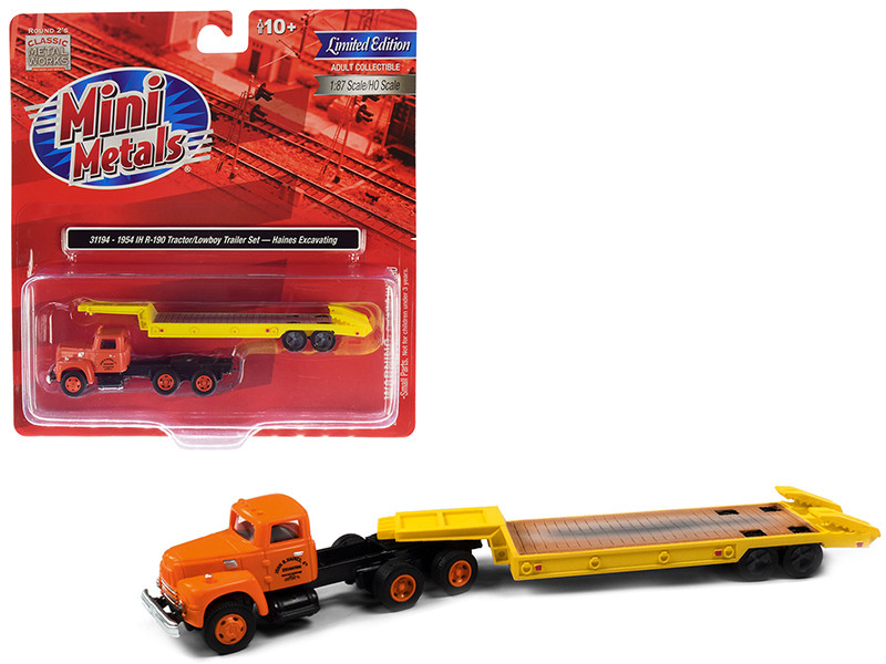 1954 IH R-190 Tractor Truck Lowboy Trailer Haines Excavating Orange Yellow 1/87 HO Scale Model Classic Metal Works 31194